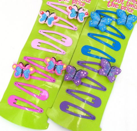 16 Pretty Butterfly/Plain Hair Clips Grips Slides Snap on Clips Party Bags (2 Cards)